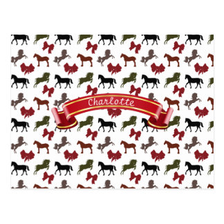 classy Horses  and Bows Pattern Custom Postcard