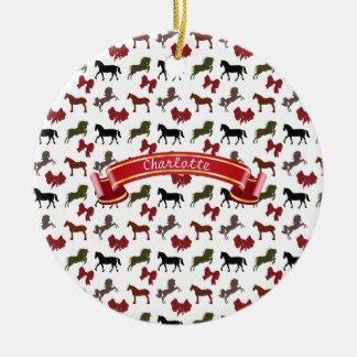 classy Horses  and Bows Pattern Custom Round Ceramic Decoration
