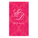Classy Hot Pink Damask Business Card