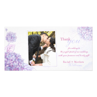Classy Hydrangeas Wedding Thank You Personalized Photo Card