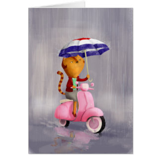 Classy Kitty Cat on pink scooter Card