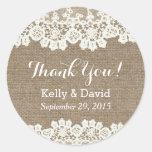 Classy Lace & Burlap Wedding Favour Stickers