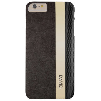 Classy Leather Gold Stripe Custom Name Barely There iPhone 6 Plus Case