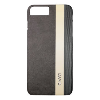 Classy Leather Gold Stripe Custom Name iPhone 7 Plus Case