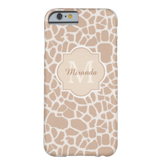 Classy Light Brown Giraffe Print Monogram and Name Barely There iPhone 6 Case