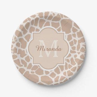 Classy Light Brown Giraffe Print Monogram and Name Paper Plate