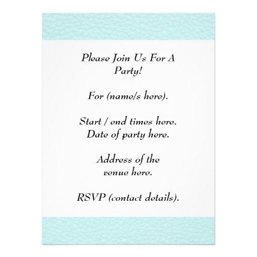 Classy Light Turquoise Printed Pattern. Invitation