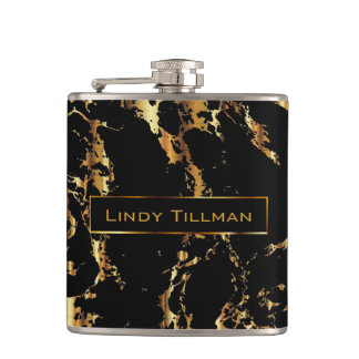 Classy Marble Black Stone with Gold Design Hip Flask