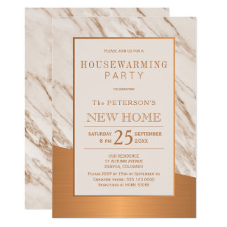 Classy marble copper elegant housewarming party card