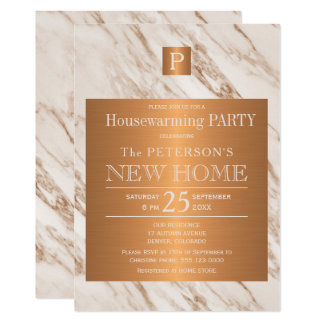 Classy marble copper monogram housewarming party card