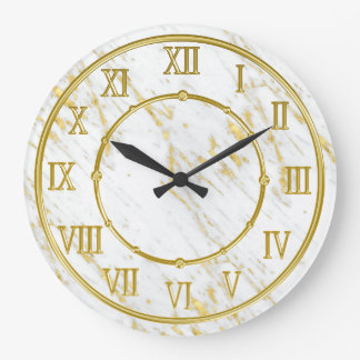Classy Marble Stone And Gold Look Large Clock