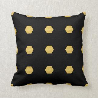 Classy Matte Gold Hexagons Pattern on Black Cushion