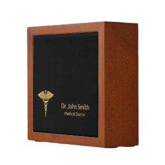 Classy Medical Gold Caduceus Black Desk Organizer