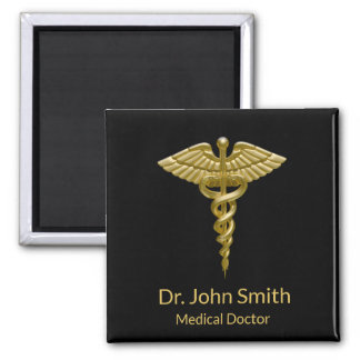 Classy Medical Gold Caduceus on Black - Magnet