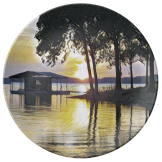 Classy Modern Contemporary Lake Sunset Plate