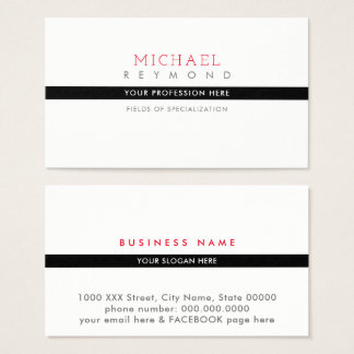 classy & modern white professional specialized business card