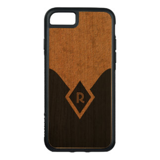 Classy Monogram Black and Tan Elegant Wooden Carved iPhone 8/7 Case