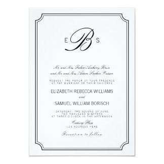 Classy Monogram Elegant White Black Wedding Invite