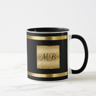 Classy Monogram Gold And Black Color Mug