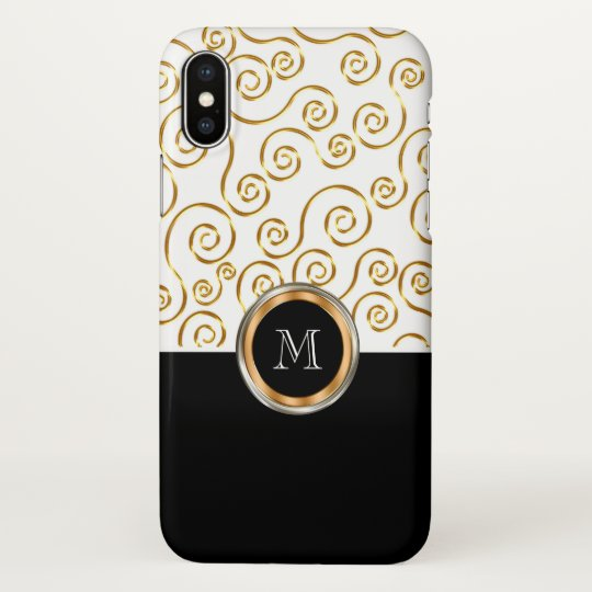 Classy Monogram Gold Coloured Pattern Case