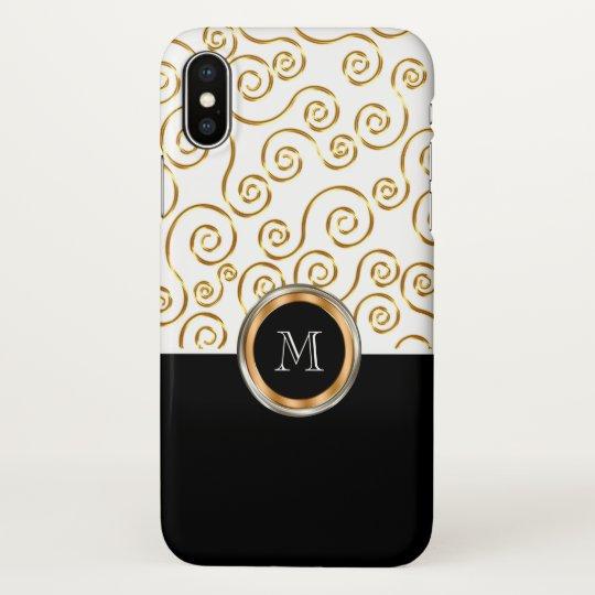 Classy Monogram Gold Coloured Pattern iPhone X Case