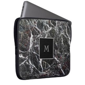 Classy Monogram Marble Look Laptop Sleeve