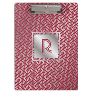 Classy Monogram Red Silver Interlocking Pattern Clipboard