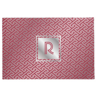 Classy Monogram Red Silver Interlocking Pattern Doormat
