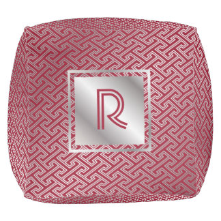 Classy Monogram Red Silver Interlocking Pattern Pouf