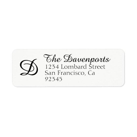 Classy Monogram Return Address Label