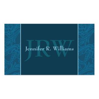 Classy Monogram Teal Business Card