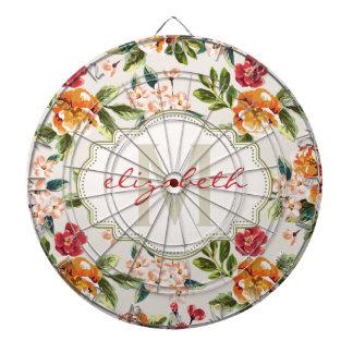 Classy Monogram Vintage Victorian Floral Flowers Dartboards