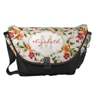 Classy Monogram Vintage Victorian Floral Flowers Messenger Bags