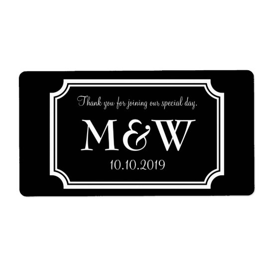 Classy monogram wedding wine or water bottle label