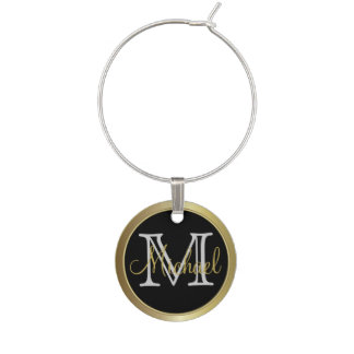Classy Monogrammed Name Charm Wine Glass Charms
