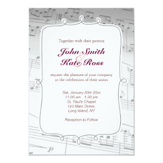 Classy Music Notes Wedding Invitation