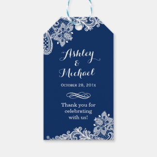 Classy Navy Blue White Lace Wedding Thank You Gift Tags