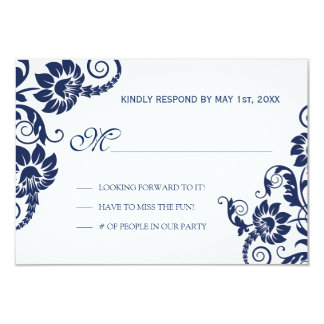 Classy Navy Flowers Wedding RSVP 9 Cm X 13 Cm Invitation Card
