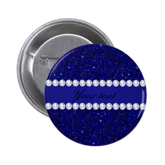 Classy Navy Sequins and Diamonds Personalized 6 Cm Round Badge