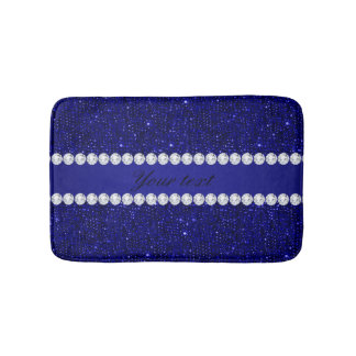 Classy Navy Sequins and Diamonds Personalized Bath Mat
