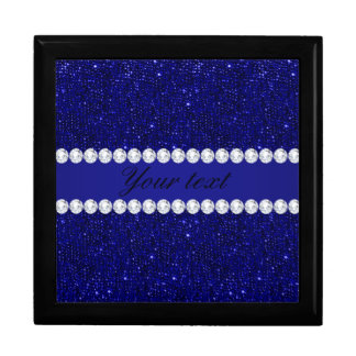 Classy Navy Sequins and Diamonds Personalized Gift Box
