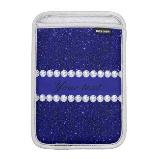 Classy Navy Sequins and Diamonds Personalized iPad Mini Sleeve