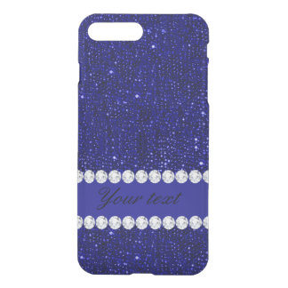 Classy Navy Sequins and Diamonds Personalized iPhone 8 Plus/7 Plus Case