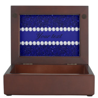 Classy Navy Sequins and Diamonds Personalized Keepsake Box
