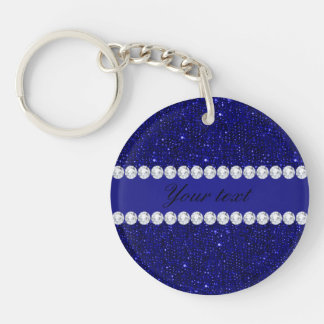 Classy Navy Sequins and Diamonds Personalized Key Ring