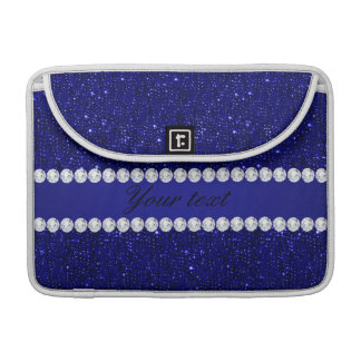 Classy Navy Sequins and Diamonds Personalized MacBook Pro Sleeve