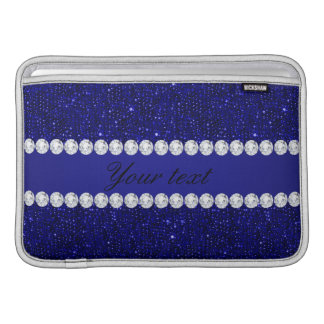 Classy Navy Sequins and Diamonds Personalized MacBook Sleeve