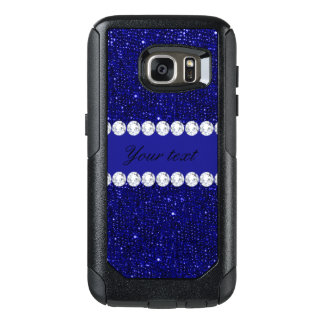 Classy Navy Sequins and Diamonds Personalized OtterBox Samsung Galaxy S7 Case