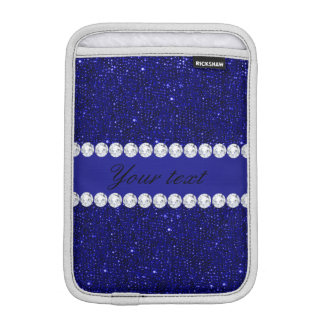Classy Navy Sequins and Diamonds Personalized Sleeve For iPad Mini
