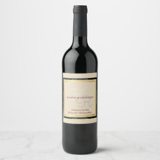 classy nicely detailed monogrammed wedding wine label